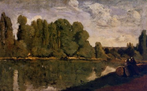 The Rhone - Three Women on the Riverbank Seated on a Tree Tr by Jean-Baptiste Camille Corot