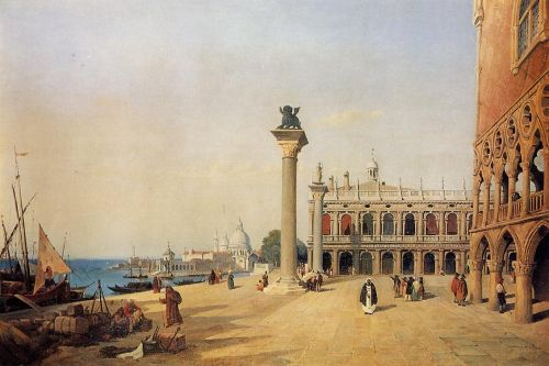 Venice - View of the Esclavons Quay by Jean-Baptiste Camille Corot