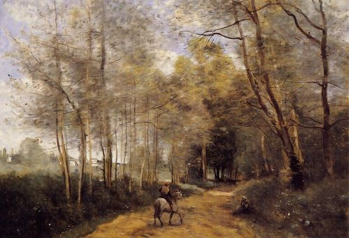 Ville d'Avray - Horseman at the Entrance of the Forest by Jean-Baptiste Camille Corot
