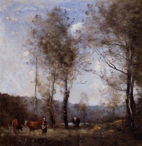 Ville d'Avray, Cowherd in a Clearing near a Pond by Jean-Baptiste Camille Corot