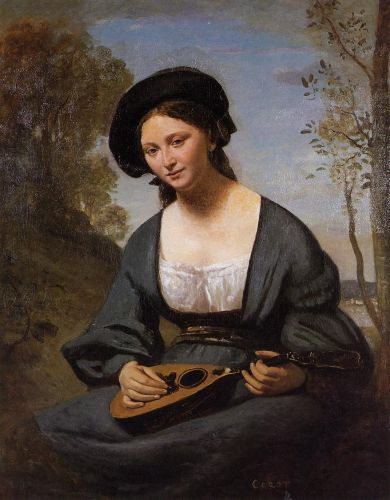 Woman in a Toque with a Mandolin by Jean-Baptiste Camille Corot
