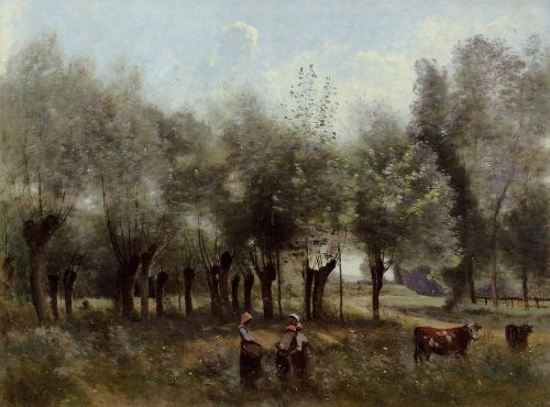 Women in a Field of Willows by Jean-Baptiste Camille Corot