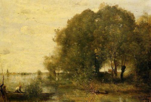 Wooded Peninsula by Jean-Baptiste Camille Corot