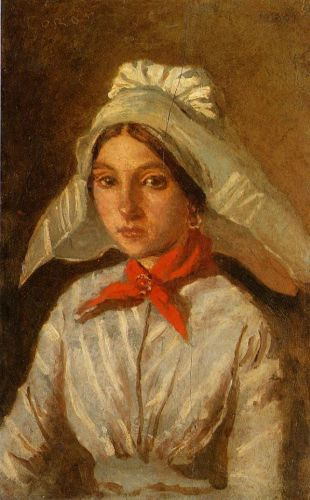 Young Girl with a Large Cap on Her Head by Jean-Baptiste Camille Corot