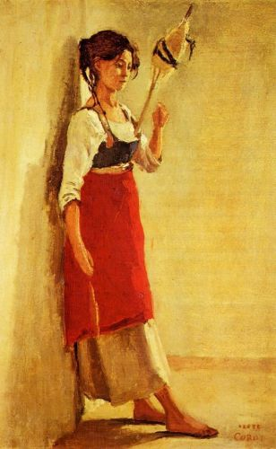 Young Italian Woman from Papigno with Her Spindle by Jean-Baptiste Camille Corot