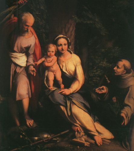 The Rest on the Flight to Egypt with Saint Francis by Antonio Allegri da Correggio