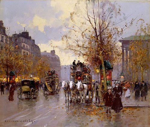 Omnibus on the Place de la Madeleine by Edouard Cortès