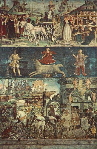 Allegory of March - Triumph of Minerva by Francesco del Cossa