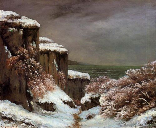 Cliffs by the Sea in the Snow by Gustave Courbet