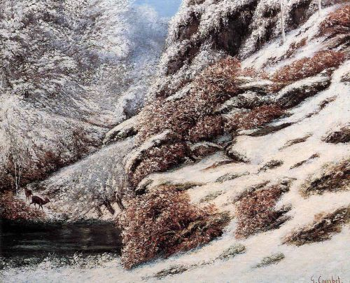 Deer in a Snowy Landscape by Gustave Courbet