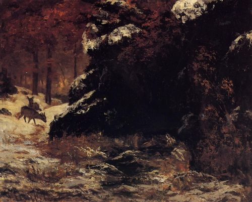 Deer in the Snow by Gustave Courbet