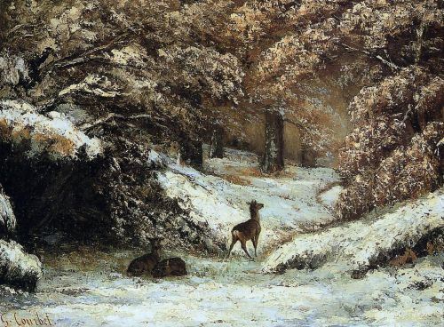 Deer Taking Shelter in Winter by Gustave Courbet