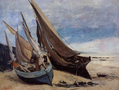 Fishing Boats on the Deauville Beach by Gustave Courbet
