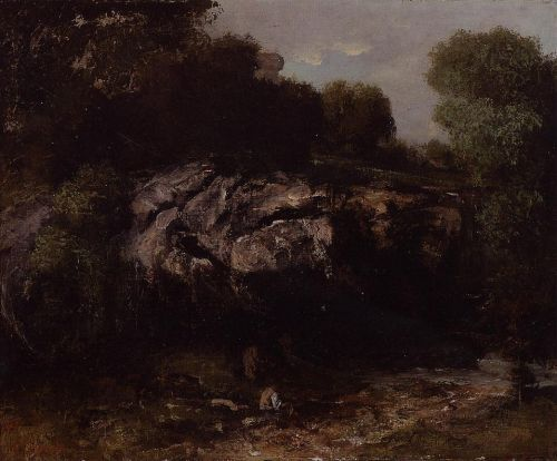 Rocky Landscape with Figure by Gustave Courbet