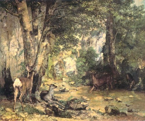 Shelter of the Roe Deer at the Stream of Plaisir-Fontaine, D by Gustave Courbet