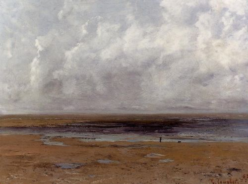 The Beach at Trouville at Low Tide by Gustave Courbet