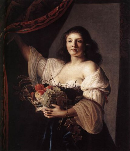 Woman with a Basket of Fruit by Christiaen van Couwenbergh