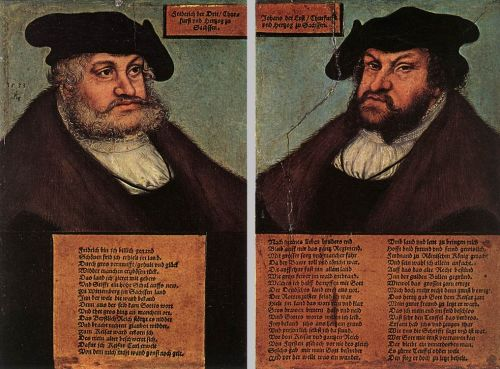 Portraits of Johann I and Frederick III the wise by Lucas Cranach the Elder
