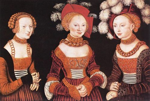 Saxon Princesses Sibylla, Emilia and Sidonia by Lucas Cranach the Elder