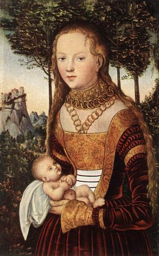 Young Mother with Child by Lucas Cranach the Elder
