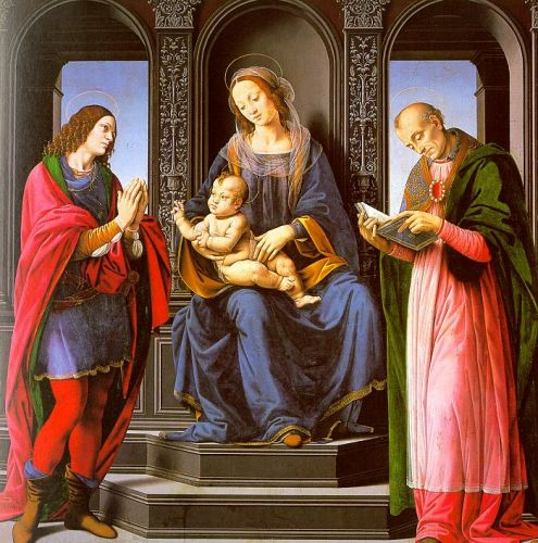 The Virgin and Child with St Julian and St Nicholas of Myra by Lorenzo di Credi