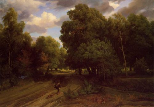 The Crossroads at the Eagle's Nest, Forest of Fontainebleau by Charles-François Daubigny
