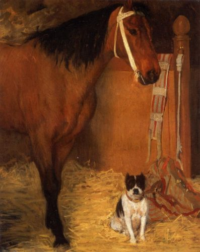 At the Stables, Horse and Dog, 1862 by Edgar Degas