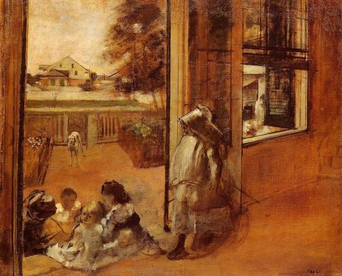 Children on a Doorstep by Edgar Degas
