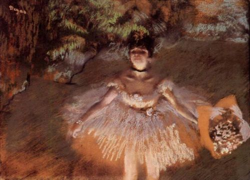 Dancer On Stage with a Bouquet, 1876 by Edgar Degas