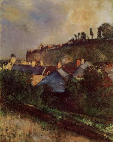 Houses at the Foot of a Cliff at Saint-Valery-sur-Somme, 1896-1898 by Edgar Degas