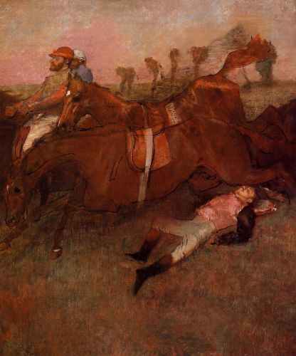 Scene from the Steeplechase - the Fallen Jockey by Edgar Degas