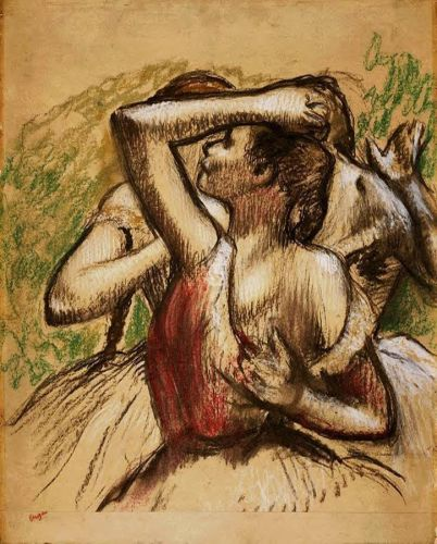 Three Ballet Dancers, One with Dark Crimson Waist by Edgar Degas