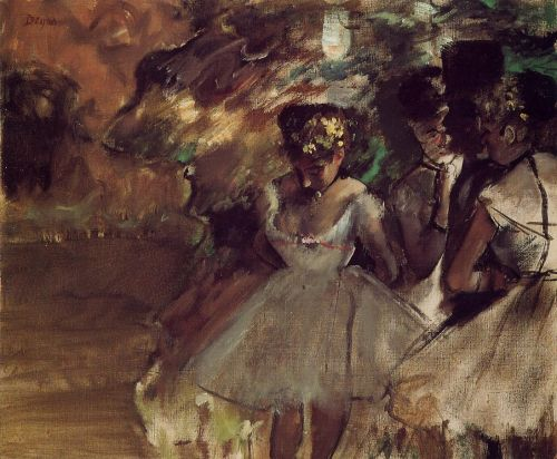 Three Dancers behind the Scenes by Edgar Degas