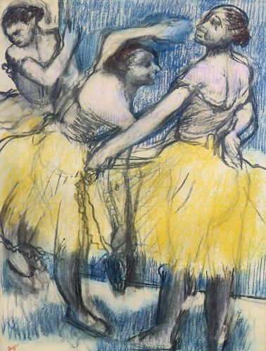 Three Dancers in Yellow Skirts by Edgar Degas