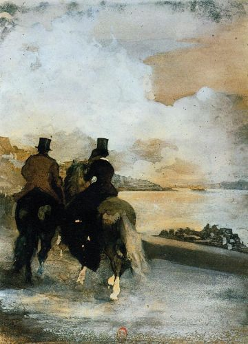 Two Riders by a Lake, 1861 by Edgar Degas