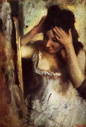 Woman Combing Her Hair before a Mirror, 1877 by Edgar Degas