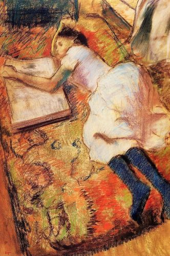 Young Girl Reading on the Floor by Edgar Degas