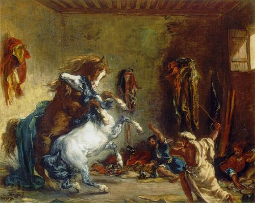 Arab Horses Fighting in a Stable by Eugène Delacroix