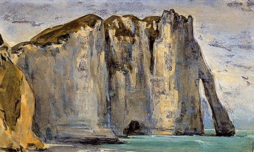 Cliff at Etretat by Eugène Delacroix