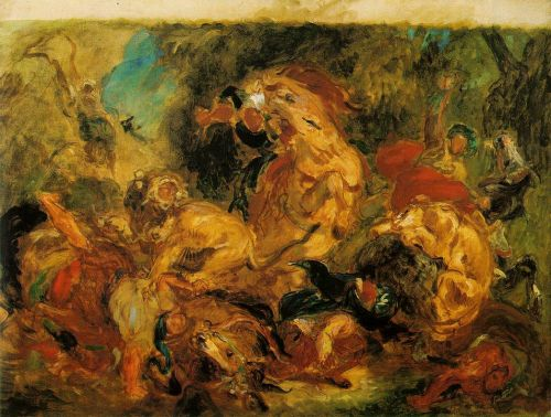 Lion Hunt by Eugène Delacroix