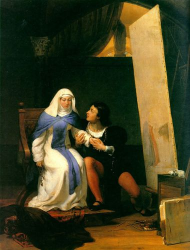 Filippo Lippi Falling in Love with his Model by Hippolyte Paul Delaroche