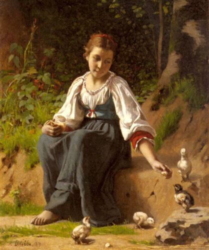 A Young Girl feeding Baby Chicks by François Alfred Delobbe