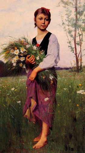 The Flower Picker by François Alfred Delobbe