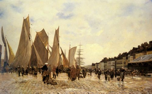 The Docks at Dieppe by Hippolyte Camille Delpy