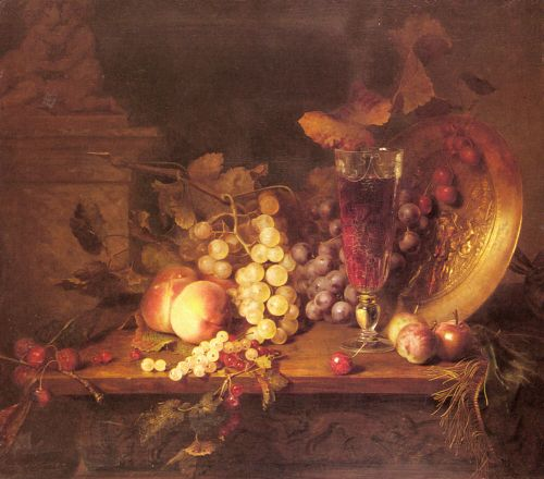 Still Life with Fruit, a Glass of Wine and a Bronze Vessel o by Blaise Alexandre Desgoffe