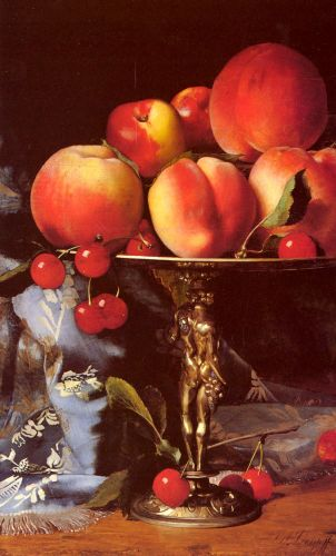 Still Life with Peaches, Plums and Cherries by Blaise Alexandre Desgoffe