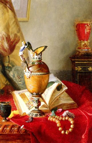 Still Life with Urns And Illuminated Manuscript On A Draped by Blaise Alexandre Desgoffe