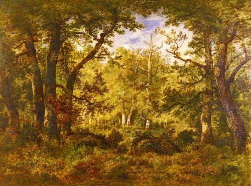 A Sunlit Clearing In The Forest At Fontainebleau by Narcisse-Virgile Díaz de la Peña