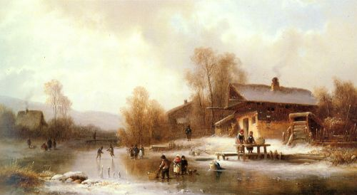 Skaters and Washerwomen in a Frozen Landscape by Anton Doll