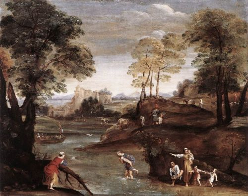 Landscape with Ford by Domenico Zampieri Domenichino